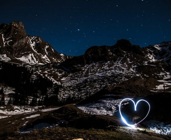 Starry winter night in the mountains